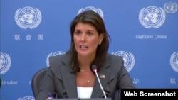نیکی هیلی نماینده آمریکا در سازمان ملل متحد - ۴ سپتامبر ۲۰۱۸