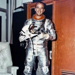 Alan Shepard is seen in his space suit prior to launch on the spacecraft Freedom 7 at the Kennedy Space Center