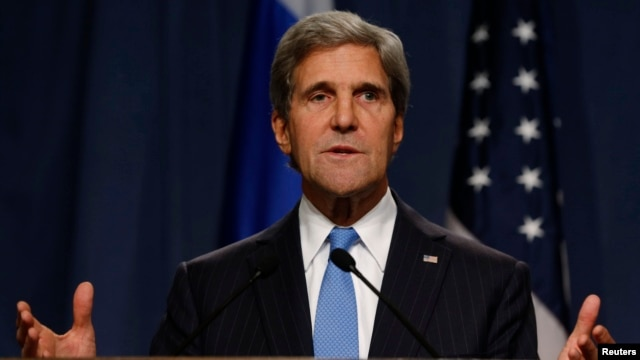 Secretary of State John Kerry delivers his opening remarks to the media before a meeting with Russian Foreign Minister Lavrov