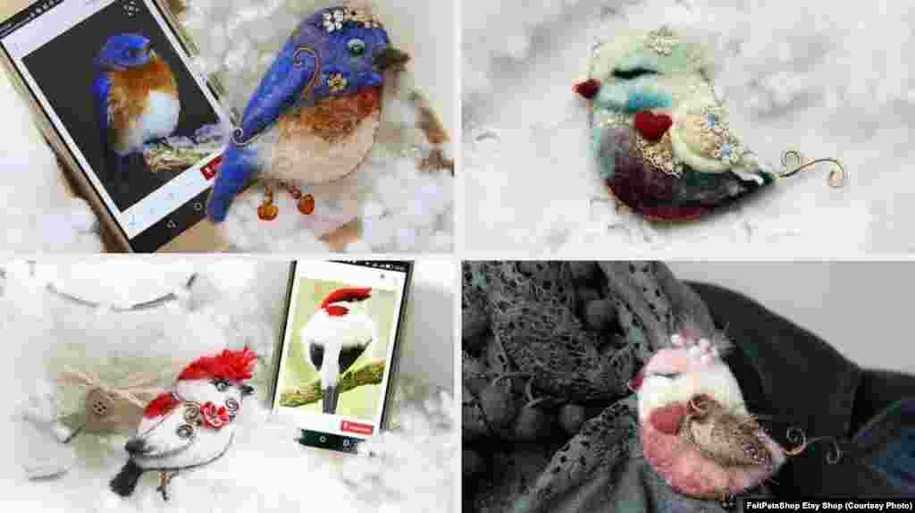 Юлія Ковальова зі Львова виготовляє брошки у вигляді птахів методом валяння вовни та загортання дроту. Майстриня вибирає фотографії пернатих і відтворює їх, оздоблюючи пір'їнами, мереживом, намистинами і т. п.