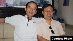 Nhà hoạt động Nguyễn Bắc Truyển (phải) đã được thả tối ngày 10/2, một ngày sau khi bị bắt tại Đồng Tháp.