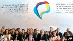 智利外长穆尼奥斯(右三)3月15日在亚太一体化倡议会议上讲话