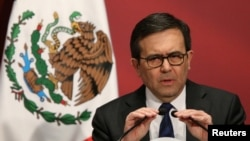 "Mexico's Economy Minister Ildefonso Guajardo delivers a speech during a ""Made in Mexico"" event in Mexico City, Mexico, Feb. 1, 2017."