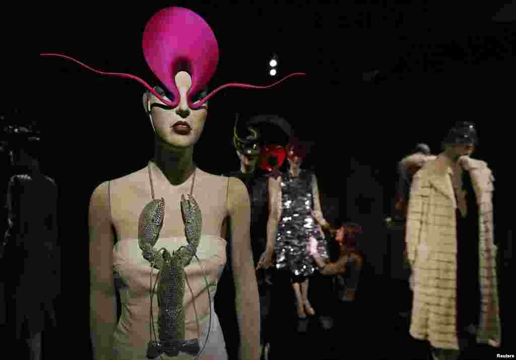 Co-curator Shonagh Marshall poses for photographers at the Isabella Blow: Fashion Galore! exhibition at Somerset House in London.