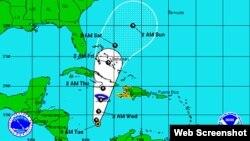 Posible trayectoria de la tormenta tropical Sandy, que el miércoles se podría convertir en huracán, segun el Centro Nacional de Huracanes.