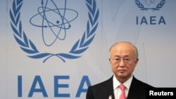 FILE - International Atomic Energy Agency Director General Yukiya Amano at the UN headquarters in Vienna, Austria.