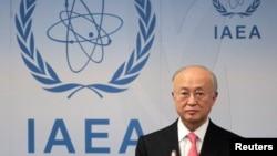 FILE - International Atomic Energy Agency Director General Yukiya Amano at the UN headquarters in Vienna, Austria.