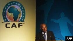 Le président de la CAF, Ahmad Ahmad, donne un discours à Skhirat, au Maroc, le 18 juillet 2017.