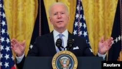 Presiden AS Joe Biden berbicara di Gedung Putih, Kamis (29/7).