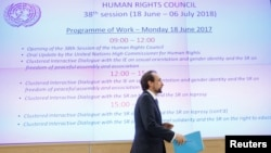 Zeid Ra'ad al-Hussein, outgoing United Nations High Commissioner for Human Rights, approaches the podium at a Human Rights Council session, at the United Nations in Geneva, Switzerland, June 18, 2018.