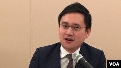 台灣駐美代表處政治組組長趙怡翔2019年1月17日參加全球台灣研究所座談會(美國之音鍾辰芳拍攝)