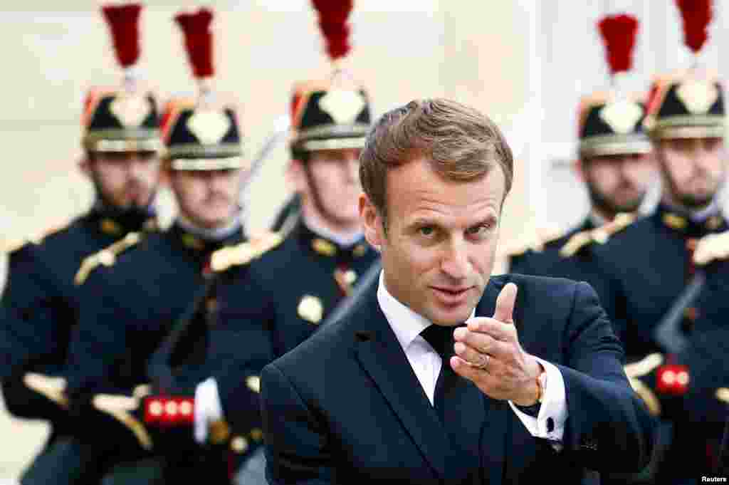 French President Emmanuel Macron is seen as he meets with Tajik President Emomali Rahmon (not pictured) at the Elysee Palace in Paris, France.