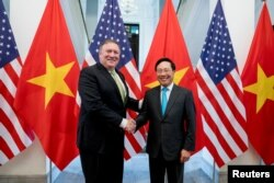 Ngoại trưởng Mỹ Pompeo gặp Phó Thủ tướng-Bộ trưởng Ngoại giao VN Phạm Bình Minh, tháng 7/2018