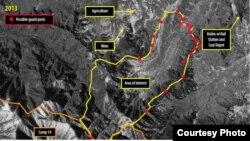 星期四公佈的報告中提供了14號勞改營的衛星圖片﹐紅點為可能增設的關卡和警戒塔。
