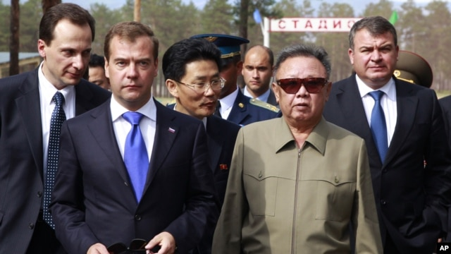 North Korean leader Kim Jong Il and Russian President Dmitry Medvedev during a meeting on a military garrison, outside Ulan-Ude, Russia, August 24, 2011