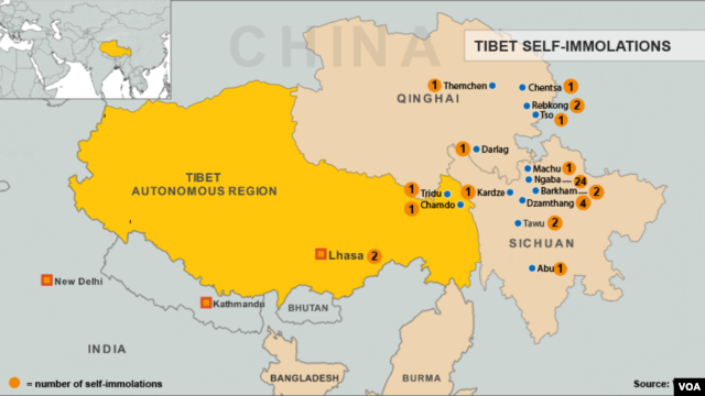 Map of Tibetan self-immolations, updated August 15, 2012