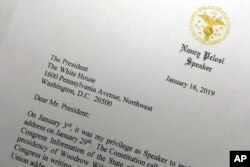 Deo pisma koji je predsedavajuća Predstavničkim domom Nensi Pelosi poslala 16. januara 2019. predsedniku Donaldu Trampu tražeći od njega da odloži obraćanje povodom stanja nacije zakazano za 29. januar, sve dok vlada ne bude ponovo otvorena.