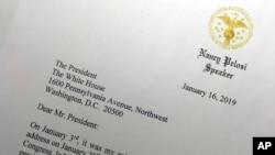 نینسی پیلوسی کی جانب سے صدر ٹرمپ کو لکھے گئے خط کا عکس