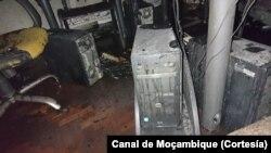 Parte do equipamento queimado. Foto: Canal de Moçambique.