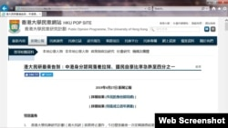 """香港大學民意研究計劃""""市民的身份認同感""""調查(網頁截圖)"""