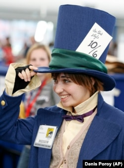 The Mad Hatter from Alice in Wonderland is always a popular costume choice. (AP Denis Poroy)