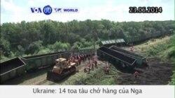 14 toa chở hàng của Nga bị trật bánh ở miền đông Ukraine (VOA60)