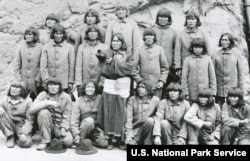 Hopi fathers imprisoned at Alcatraz, January 1895, after resisting government efforts to remove their children to off-reservation boarding schools.