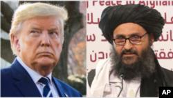 From left, U.S. President Donald Trump and Taliban Deputy Chief Mullah Abdul Ghani Baradar.
