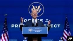 President-elect Joe Biden speaks at The Queen theater, Nov. 10, 2020, in Wilmington, Delaware.