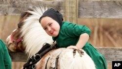 Une jeune fille Amish tente de monter un petit cheval à proximité de la ferme familiale à Bergholz, Ohio le mardi 9 Avril 2013. (AP Photo / Scott R. Galvin)