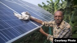 Ramanbhai Parmar, has become the first farmer to sell energy back to the power grid from the solar panels that drive his water pump in Anand district, Gujrat, India, June 8, 2015. (International Water Management Institute photo, Prashanth Vishwanathan)