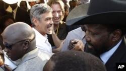 O actor George Clooney em Juba, no Sul do Sudão