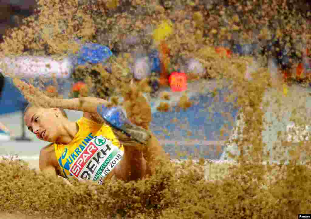 Maryna Bekh of Ukraine competes in the women's long jump final during the 2018 European Championships at the Olympic stadium in Berlin, Germany, Aug. 11, 2018.