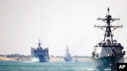 """""""USS Abraham Lincoln"""" zərbə aviasiya qrupu Süveyş kanalına daxil olur. 9 may, 2019."""