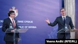 Matthew Palmer i Aleksandar Vučić na konferenciji za medije, Beograd, 4. novembar 2019.