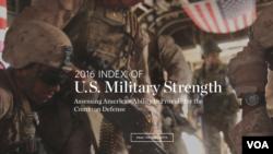 传统基金会美国军力年度报告封皮 (美国之音黎堡拍摄)