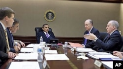 President Barack Obama is briefed by members of his national security team in the Situation Room of the White House, in Oct 2010 (file photo)
