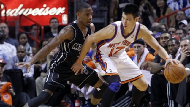 Miami Heat guard Mario Chalmers pressures Jeremy Lin of the New York Knicks during a recent game in Miami, Florida