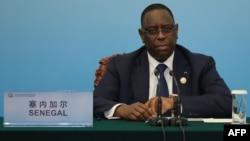 Le président sénégalais Macky Sall lors d'une conférence de presse au Grand Palais du Peuple à Beijing, le 4 septembre 2018.