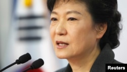 朴槿惠在记者会上发表讲话
