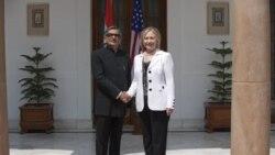 هیلاری کلینتون وزیر امور خارجه آمریکا و آقای کریشنا وزیر امور خارجه هند در دهلی - ۱۹ ژوئیه