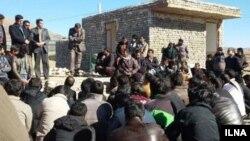 عکس از آرشیو ، اعتراضات پیشین کارگران معدن بافق