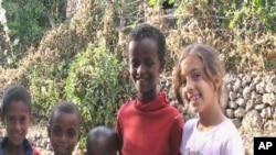 Sara Kebede with Local kids in Lalibela