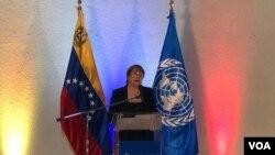 La Alta Comisionada de Derechos Humanos de la ONU, Michelle Bachelet, en rueda de prensa en Caracas, Venezuela. Junio 21, 2019. Foto: Alvaro Algarra, VOA.