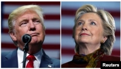 U.S. presidential candidates Donald Trump and Hillary Clinton attend campaign events in Hershey, Pennsylvania, Nov. 4, 2016 (L) and Pittsburgh, Pennsylvania, Oct. 22, 2016 in a combination of file photos.