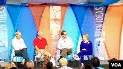 Dari kiri ke kanan, moderator Richard Wilhelm, panelis Joseph S. Nye Jr, David Ensor, Madeleine Albright, pada Aspen Ideas Festival (6/30)