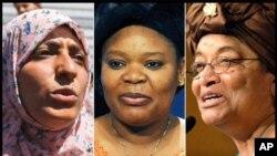 Matan da su ka ci lambar yabon: Tawakkul Karman da Leyma Gbowee da kuma Shugabar Liberiya Ellen Johson Sirleaf