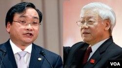 Bí thư Thành ủy Hoàng Trung Hải (trái) và Tổng Bí thư Nguyễn Phú Trọng. (Ảnh tư liệu)
