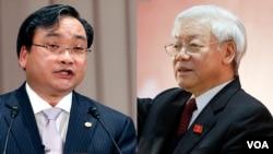Hoàng Trung Hải (trái) và Nguyễn Phú Trọng.