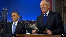 18일 미국 텔레비전 대담쇼 'Late Show with David Letterman'에 출연한 바락 오바마 대통령.